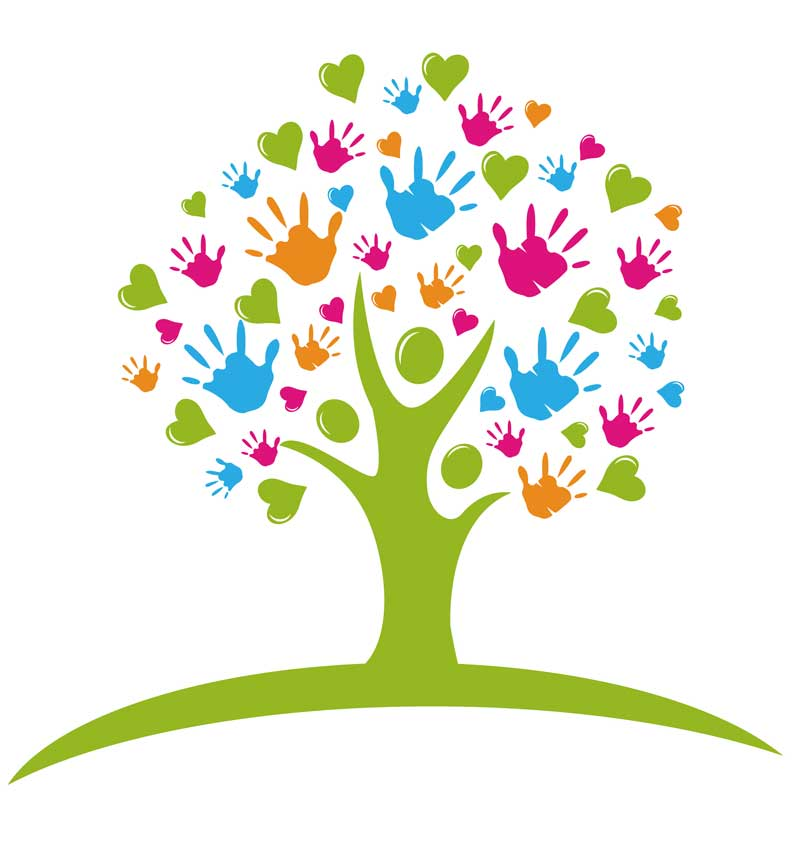 tree heart hands volunteer with us