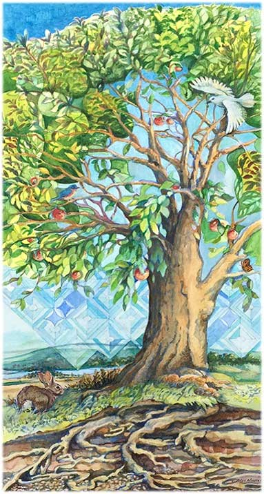 The watercolor painting above shows the design of the center panel of the Tree of Life artwork that will acknowledge Founding Members in our new Center. The 4' X 6' triptych mural will be created by noted A.R.E. artist Carol Hicks.
