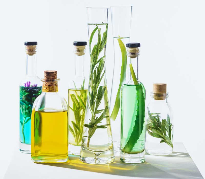 oils in bottles and plants display