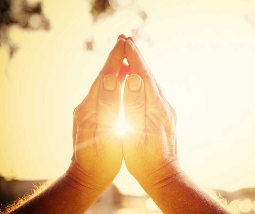 praying hands sunlight