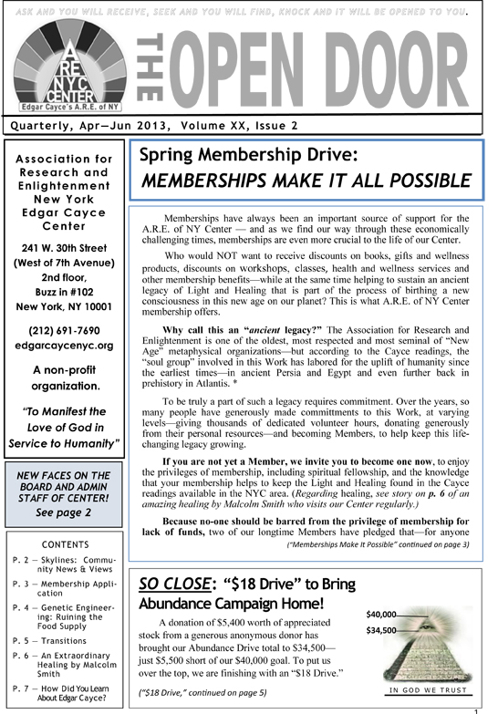 OpenDoorNewsletter Apr-Jun2013