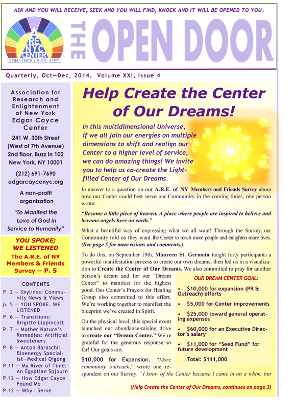 OpenDoorNewsletter Oct-Dec 2014
